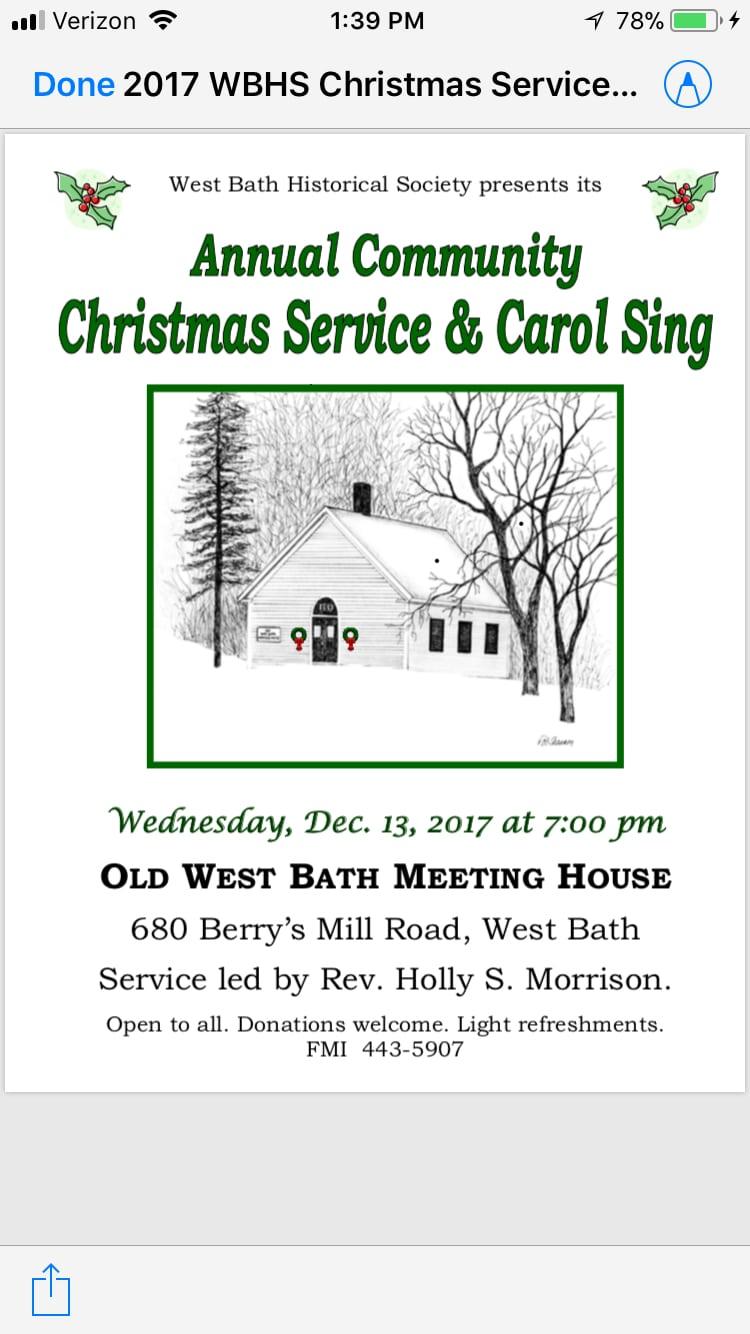 Annual Community Christmas Service - Main Street Bath, Maine