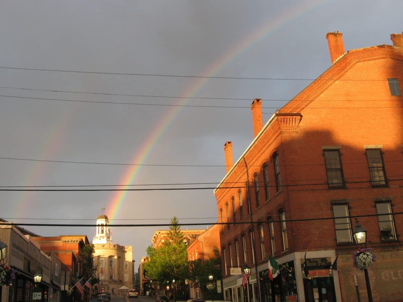 Rainbow over bath
